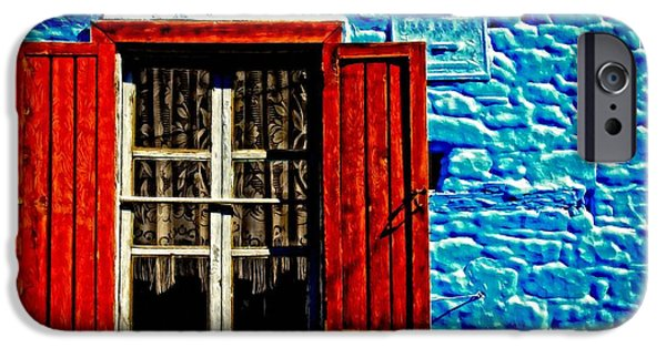 Buildings Mixed Media iPhone Cases - Digital painting of colorful broken wooden window shutters iPhone Case by Ken Biggs