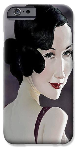 Caricature Digital Art iPhone Cases - Dita Von Teese iPhone Case by Andre Koekemoer