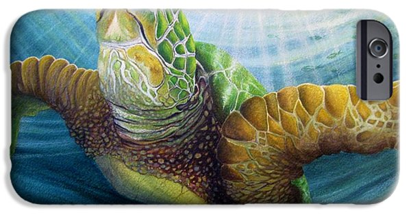 Ocean Turtle Paintings iPhone Cases - Diving the Depths iPhone Case by David Richardson