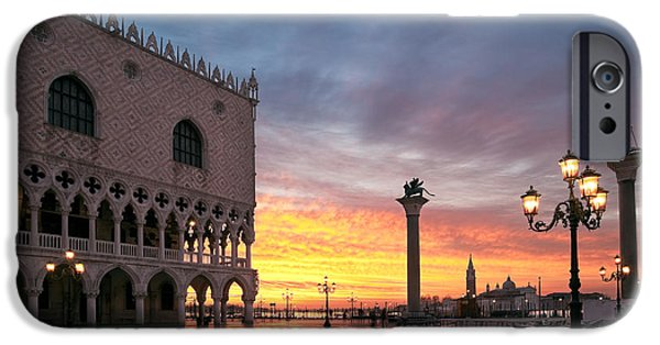 Beauty Mark Photographs iPhone Cases - Doges palace at sunrise Venice Italy iPhone Case by Matteo Colombo