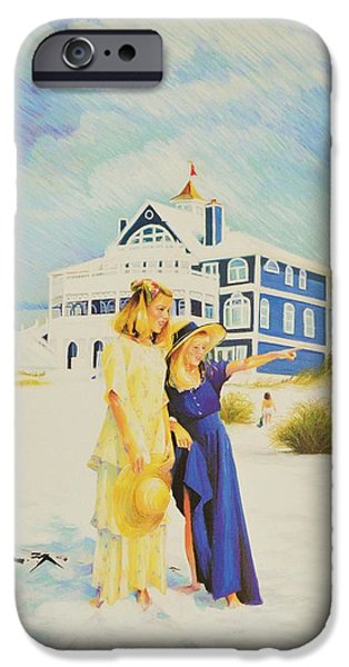 Cape Cod Pastels iPhone Cases - dolphins iPhone Case by Sally Buffington