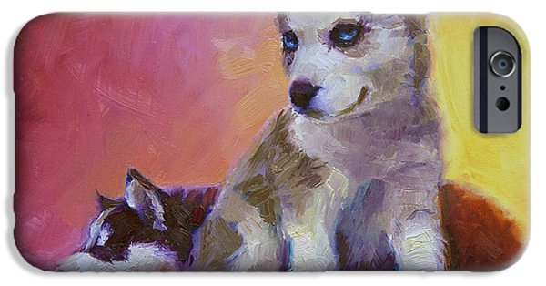 Huskies iPhone Cases - Double Trouble - Alaskan Husky Sled Dog Puppies iPhone Case by Karen Whitworth