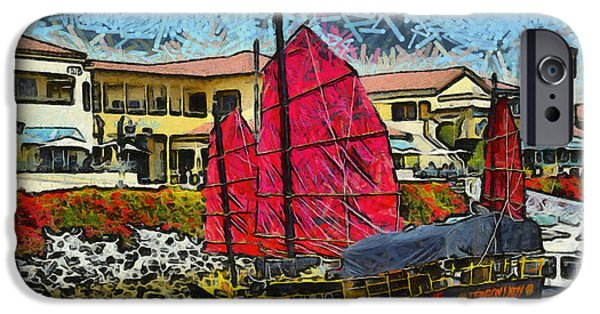 Pirate Ships iPhone Cases - Dragon Lady At Venture Harbor iPhone Case by Barbara Snyder