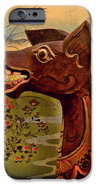 Strange iPhone Cases - Dragon With Hiroshige iPhone Case by Jeff  Gettis