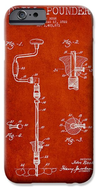 Drill Pounder Patent Drawing From 1922 iPhone Case by Aged Pixel