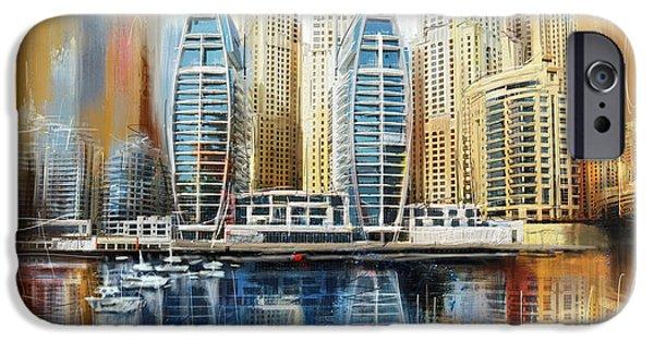 Corporate Art iPhone Cases - Dubai Skyline iPhone Case by Corporate Art Task Force