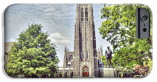 Duke iPhone Cases - Duke Chapel in Spring iPhone Case by Emily Kay