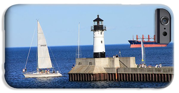 Sailboats iPhone Cases - Duluth Mn harbor iPhone Case by Lori Tordsen