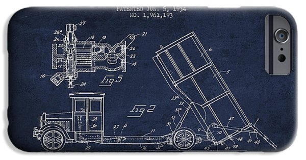 Truck iPhone Cases - Dump Truck patent drawing from 1934 iPhone Case by Aged Pixel