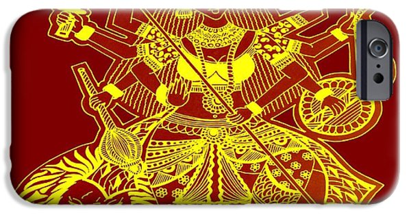 Parvati Paintings iPhone Cases - Durga Maa iPhone Case by Sketchii Studio
