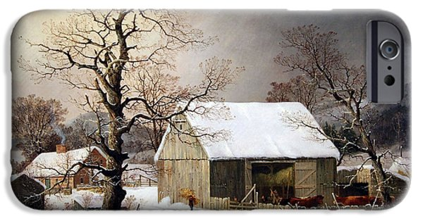 Recently Sold -  - Cora Wandel iPhone Cases - Durries Winter In The Country iPhone Case by Cora Wandel