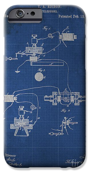 Edison iPhone Cases - Edison Telephone Patent Blueprint 1 iPhone Case by Pablo Franchi