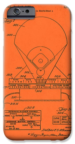 Electric Drawings iPhone Cases - Electric Baseball Game Patent 1972 iPhone Case by Mountain Dreams
