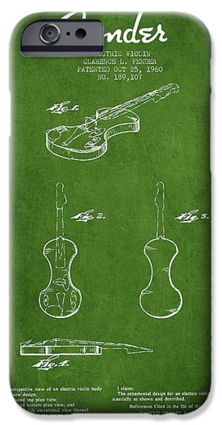 Violin iPhone Cases - Electric Violin Patent Drawing From 1960 iPhone Case by Aged Pixel