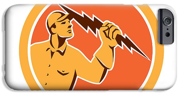 Electrician iPhone Cases - Electrician Holding Lightning Bolt Circle Retro iPhone Case by Aloysius Patrimonio