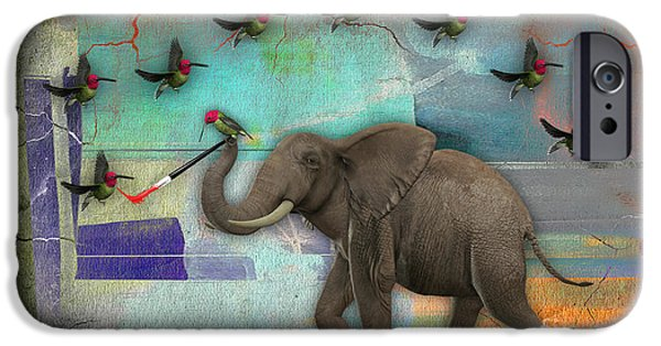 Elephants iPhone Cases - Elephant Painting Birds out of thin air. iPhone Case by Marvin Blaine