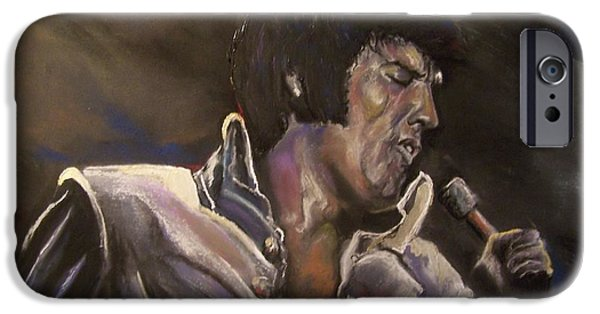 Mixed Media Pastels iPhone Cases - Elvis iPhone Case by Peter Suhocke
