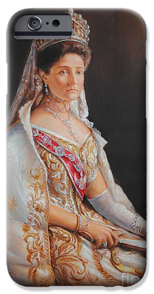 Duchess Paintings iPhone Cases - Empress Alexandra Feodorovna of Russia iPhone Case by George Alexander