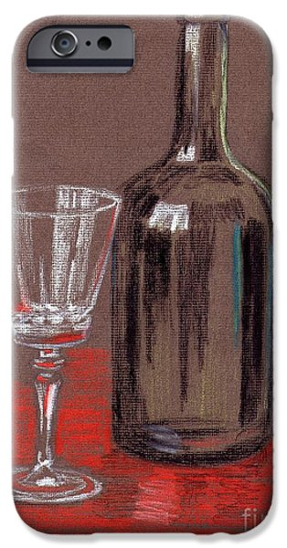 Wine Bottles Pastels iPhone Cases - Empty iPhone Case by Alan Hogan