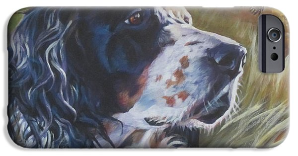 Puppies iPhone Cases - English Setter iPhone Case by Lee Ann Shepard