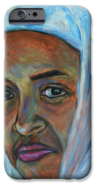Ethiopian Woman iPhone Cases - Ethiopian Lady iPhone Case by Xueling Zou