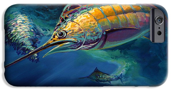 Sailfish Paintings iPhone Cases - Eye On The Ball iPhone Case by Mike Savlen