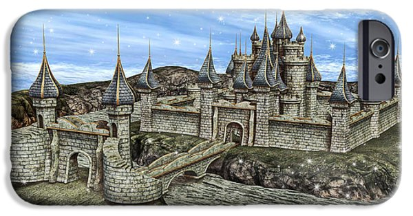 Buildings Mixed Media iPhone Cases - Fairy Tale Castle iPhone Case by Design Windmill