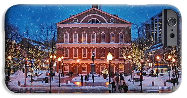 Tea Party iPhone Cases - Faneuil Hall Winter iPhone Case by Joann Vitali