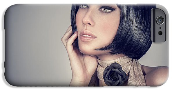 Recently Sold -  - Gray Hair iPhone Cases - Fashion model portrait iPhone Case by Anna Omelchenko