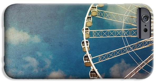 Fun Photographs iPhone Cases - Ferris wheel retro iPhone Case by Jane Rix