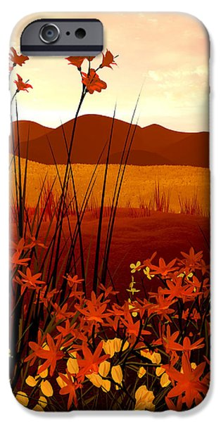 Landscape iPhone Cases - Field of Flowers iPhone Case by Cynthia Decker