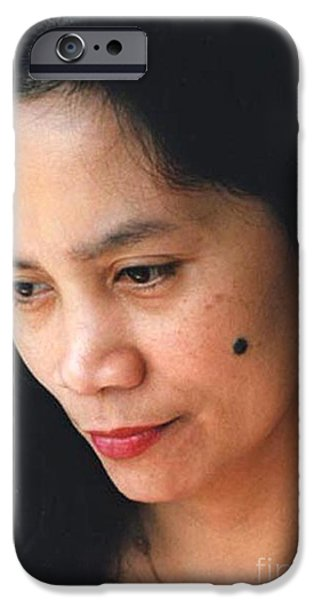 Beauty Mark iPhone Cases - Filipina Beauty with a mole on Her Cheek iPhone Case by Jim Fitzpatrick