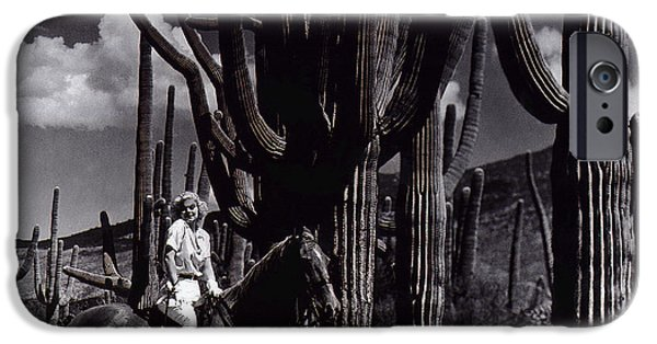 Duo Tone iPhone Cases - Film Homage Jean Harlow Bombshell 1933 Saguaro National Monument Tucson Arizona Duo-tone 2008 iPhone Case by David Lee Guss