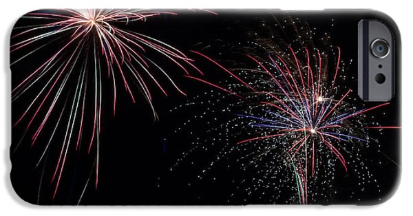Fourth Of July iPhone Cases - Fireworks in the Night Sky iPhone Case by Dawna  Moore Photography