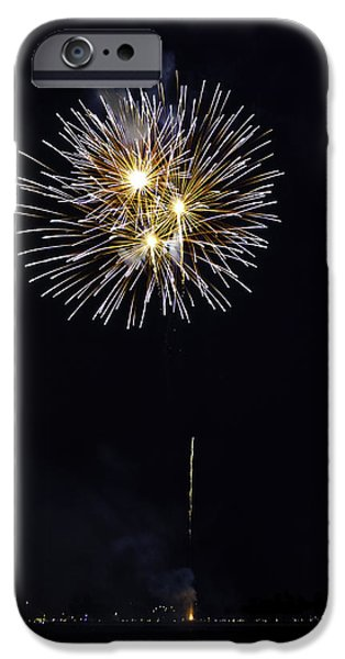 Fireworks Shell Burst over the St Petersburg Pier iPhone Case by Jay Droggitis