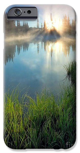 Fog Mist Photographs iPhone Cases - First Light iPhone Case by Mike  Dawson