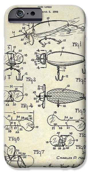 Shark iPhone Cases - 1961 Fishing Lures Patent Drawing  iPhone Case by Jon Neidert