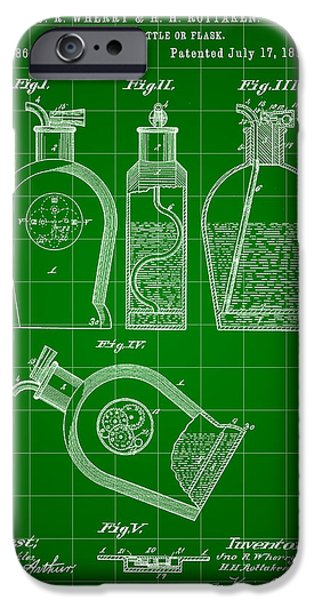 Wine Sipping iPhone Cases - Flask Patent 1888 - Green iPhone Case by Stephen Younts