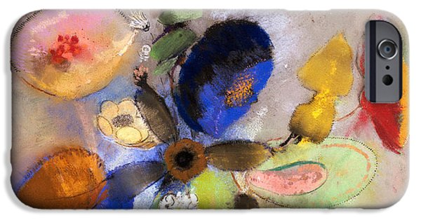 Botanical Pastels iPhone Cases - Flowers iPhone Case by Odilon Redon