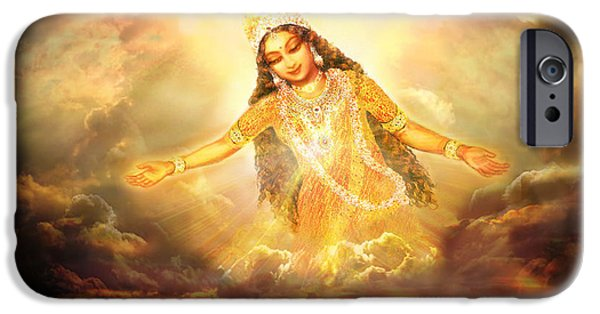 Hindu Goddess Mixed Media iPhone Cases - Flying Home  iPhone Case by Ananda Vdovic