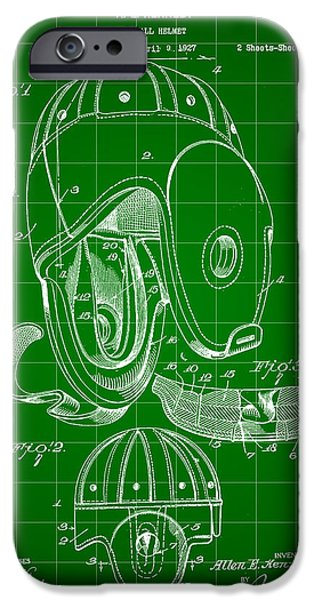 Pro Football iPhone Cases - Football Helmet Patent 1927 - Green iPhone Case by Stephen Younts