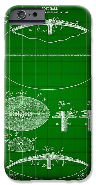 Pro Football iPhone Cases - Football Patent 1902 - Green iPhone Case by Stephen Younts