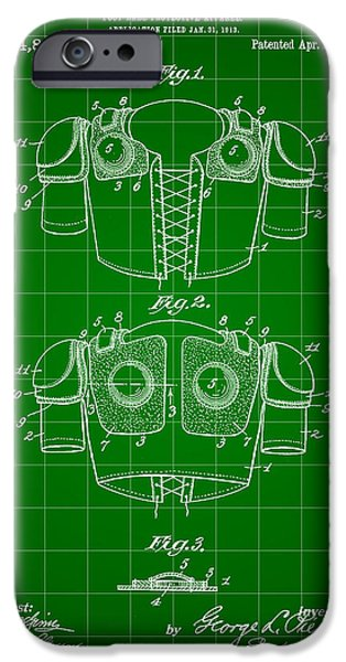 Pro Football iPhone Cases - Football Shoulder Pads Patent 1913 - Green iPhone Case by Stephen Younts