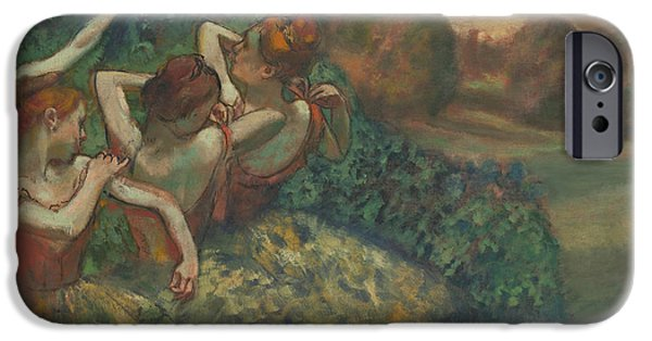 Tutus Paintings iPhone Cases - Four Dancers iPhone Case by Edgar Degas