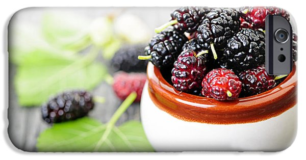 Berry iPhone Cases - Fresh mulberries iPhone Case by Elena Elisseeva