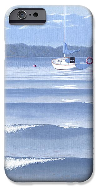 Sailboat Paintings iPhone Cases - From the beach iPhone Case by Gary Giacomelli