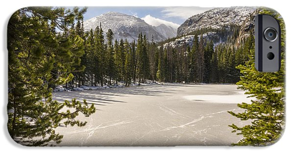 Snow iPhone Cases - Frozen Nymph Lake - Rocky Mountain National Park Estes Park Colorado iPhone Case by Brian Harig