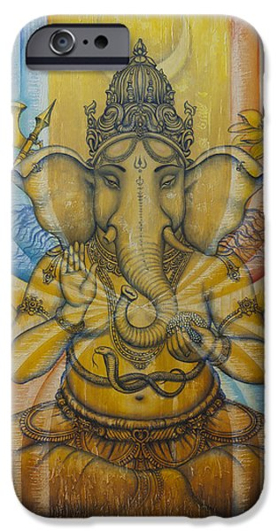 Unity Paintings iPhone Cases - Ganesha  iPhone Case by Vrindavan Das