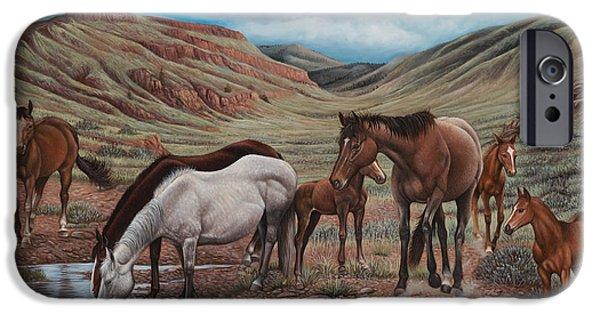 Quarter Horse iPhone Cases - Gathering At Diablo Canyon iPhone Case by Ricardo Chavez-Mendez
