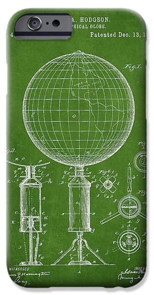 Global Greens iPhone Cases - Geographical Globe Patent Drawing From 1892 iPhone Case by Aged Pixel